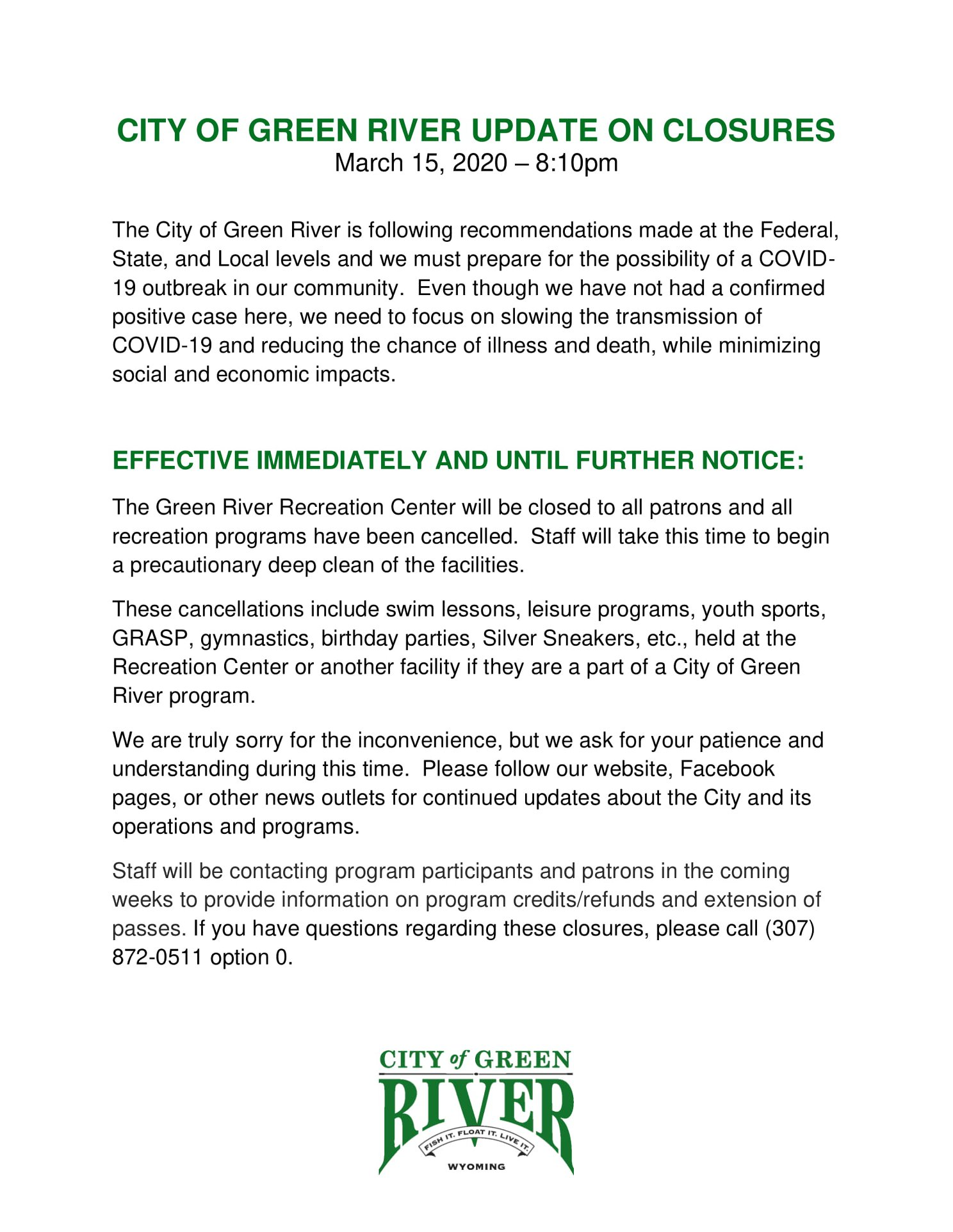 City of Green River Update on Closures